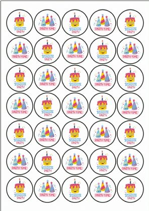Party Stickers - Party Time Birthday Party - 37mm Paper Stickers